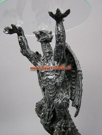 Drache Tisch Material Kunstharz Und Glas Figur Ist 100 Wetterfest Geeignet Fr Innen Aussen Grsse Hhe Ca 32 Cm Gewicht 175 Kg