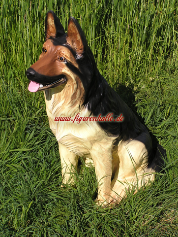 Schäferhund lebensgroß als Dekorationsfigur aus Polyresin